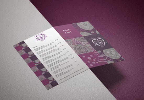 Mooie 4 pagina menukaart van Het bruisend Hart Kaatsheuvel